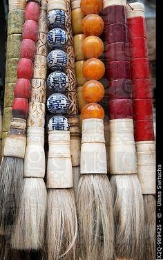 Antique chinese calligraphy brushes: Dongtai lu antique market,Shanghai China