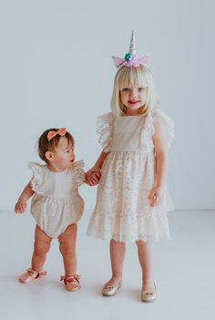 Freya Romper // the perfect first birthday outfit for baby, ivory lace bubble romper from cuteheads.com