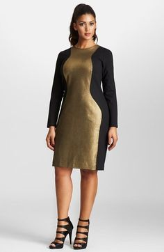 Plus Size Dress - Mynt 1792 Metallic Colorblock Ponte Dress (Plus Size)