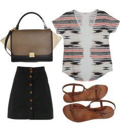 Celine Trapeze Leather Handbag in Brown Cream Black