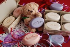 Valentine's Day variety - personalized scented soaps - in eight great fragrances, personalize with a message of love, her initial, her monogram, or a graphic - available in one, two, three and four bar boxes