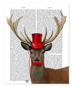 Look what I found on #zulily! Red Top Hat & Mustache Deer Dictionary Print #zulilyfinds