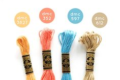 Just Beachy - - a DMC embroidery floss palette. (I love a good excuse to pull the colors out to play! Embroidery Floss Bracelets, Thread Bracelets, Dmc Embroidery Floss, Cross Stitch Embroidery, Embroidery Patterns, Hand Embroidery, Simple Embroidery, Diy Friendship Bracelets Patterns, Bracelet Crafts