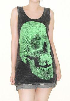 Crystal Skull Bleached Black Tank Top Art Indie Singlet Shirt Size S