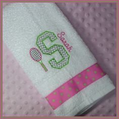 Tennis Gift Towel Personalized with Racket and Initial Hot Pink and Lime Green Tennis Online, Tennis Gifts, Tennis Workout, I Love My Daughter, Tennis Players, Rackets, Tennis Racket, Pink And Green, Fitness