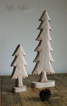 Christmas Tree Ornaments - a set of handcrafted, wooden Christmas trees, perfect for the mantelpiece.