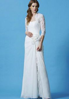 Natural Waist Chiffon With Side Slit Sheath/ Column Scoop Casual Wedding Dress - 1300103795B - US$239.99 - BellasDress