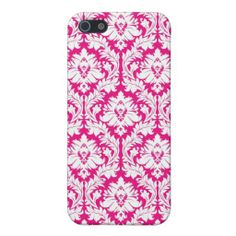 Hot Pink damask Covers For iPhone 5