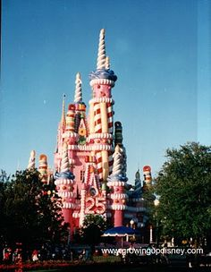 From October 1996 to January 1998 the Imagineers at Walt Disney World transformed Cinderella Castle into a huge pink birthday cake. This picture was taken November 1997.