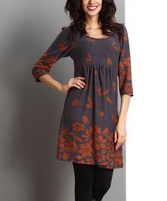 Look what I found on #zulily! Charcoal & Brown Falling Leaf Empire-Waist Tunic by Reborn Collection #zulilyfinds