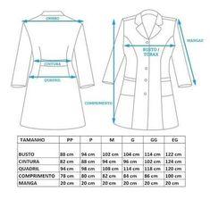 Tabla Medidas #costura #patrones #moldes #sewing #patterns #sew Coat Pattern Sewing, Coat Patterns, Sewing Patterns, Scrubs Pattern, Scrubs Outfit, Lab Coats, Corporate Identity Design, Medical Scrubs, Teacher Style