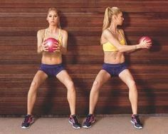 Just repinning...I used to HATE these but they work! With your back against a wall, hold a medicine ball, or a kettle bell, with both hands in front of your chest and lower into a squat (a). Keeping your hips steady, twist to the left and reach the ball toward the wall (b). Return to centre. That's one rep. Repeat on the other side. Move back and forth at a slow, controlled pace for 20 total reps. Quick tip: Make it harder by fully extending your arms instead of bending your elbows. by J.H.