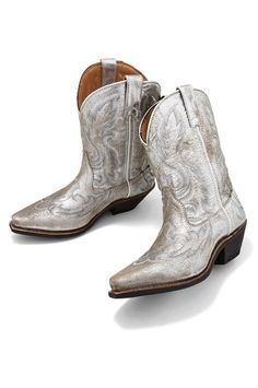 Beautiful! New Shiny SILVER COWBOY BOOTS Womens Western Fashion ...