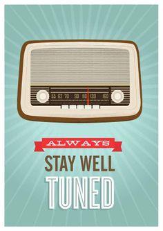 Mid Century Art Retro vintage radio poster typography door handz