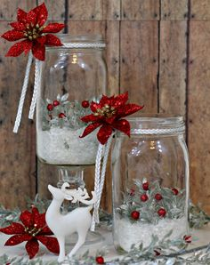 Holiday Mason Jar Luminaries are a simple project you can put together in just a few minutes that will add a dramatic and dazzling effect to your holiday table. Mason Jar Christmas Crafts, Snowman Christmas Decorations, Christmas Centerpieces, Mason Jar Crafts, Mason Jar Diy, Christmas Projects, Holiday Crafts, Christmas Ornaments, Wine Glass Crafts