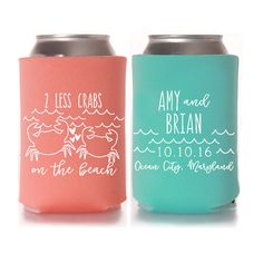 2 Less Crabs On The Beach Wedding Favors Koozies Can Coolers