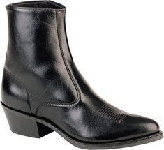 All over leather seven inch side zip boot.With a comfort insole, a medium round toe, a neoprene outsole and a western heel.