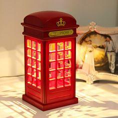 Barato Frete grátis 1 pcs Retro Telephone Booth londres bateria luz noite USB dupla   Use LED abajur de cabeceira luminarias WJD15070, Compro Qualidade Luzes noturnas de LED diretamente de fornecedores da China:                          Bem-vindo ao                                                    DIY vida online