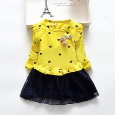 Girls dress spring and autumn long-sleeved children's clothing new cotton children's mesh dress 2 3 4 5 years Fashion Kids, Winter Fashion, Yellow Clothes, Happy Colors, Mesh Dress, Pink Yellow, Purple, Spring Dresses, Spring Collection