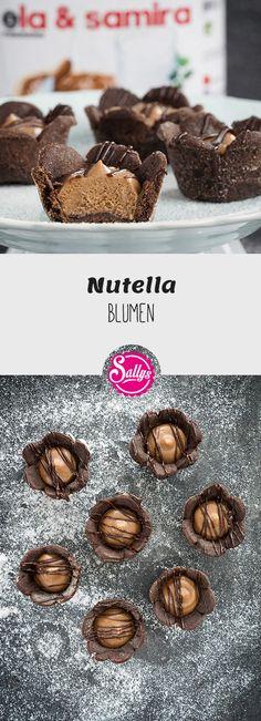 Feine Blumen-Cups aus Schokoladenmürbteig, gefüllt mit einer Nutella-Creme.  #nutella