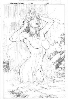 Nina e Ariel #1 pg 3 (Nina showers) - by Ed Benes (grail) - NWS Comic Art