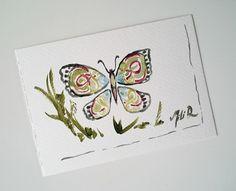 """NOUVEAU-Carte postale unique aquarelle """"Papillon celtique """" vert rouge : Cartes par milid"""