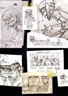 Gorillaz sketches by Jamie Hewlett