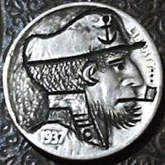 J. PRESS HOBO NICKEL - SMOKING SEA CAPTAIN* - 1937 BUFFALO PROFILE Hobo Nickel, Sea Captain, Skulls, Buffalo, Smoking, Coins, Carving, Profile, American