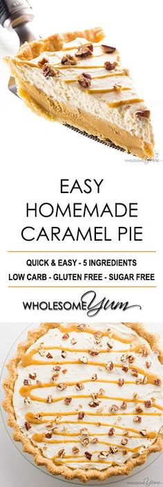 Easy Low Carb Salted Caramel Pie Recipe - No one will guess this easy salted pecan caramel pie is gluten-free & sugar-free. With just a few ingredients, it'll be the best low carb pie you've tried! Winter Desserts, Thanksgiving Desserts, Christmas Desserts, Christmas Treats, Sugar Free Desserts, Low Carb Desserts, Sugar Free Candy, Dessert Recipes, Pie Dessert