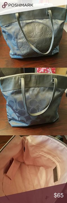**Final Markdown** Coach Laura Signature Purse This authentic Coach purse (E1220-F19440) is great for a pop of silver gray and has tons of room inside. Used with very small marks on back but in good condition Coach Bags Shoulder Bags