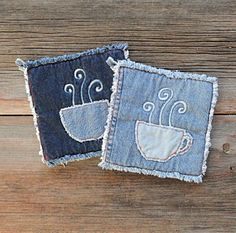 Hot Coffee Potholders Blue Jeans Pot Holders by DeMasterDesigns