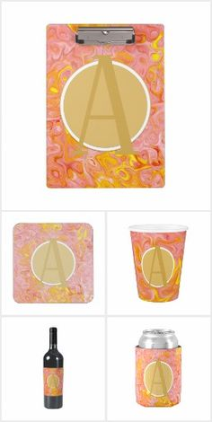 Pink Gold Marble MONOGRAM gifts - Add ANY letter