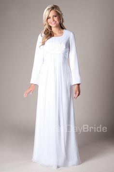 2016 Simple White  A-line Floor Length Modest Full Long Sleeves Empire Waist Chiffon Temple Wedding Dress With Sleeves