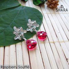 Raspberry Souffle Earrings- These stunning drop earrings feature two Swarovski Elements Raspberry, Swarovski, Drop Earrings, Raspberries, Drop Earring