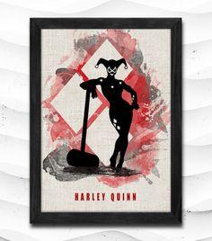 Harley Quinn Joker Watercolor Print Batman Poster Art Print Baby Room Illustrations Room Nursery Kids Room Gift Linen Poster