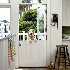 Dutch doors make it easy to enjoy sunshine and coastal breezes.