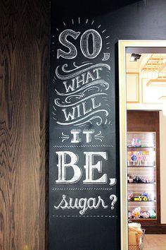 Typography / Lolli and Pops Chalk Wall: Glendale, CA Blackboard Art, Chalkboard Lettering, Chalkboard Designs, Chalkboard Typography, Chalkboard Restaurant, Creative Typography, Typography Art, Chalk Writing, Sign Writing