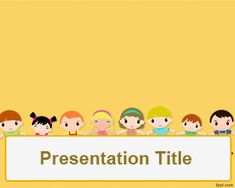 Children's day PowerPoint Template is a free orange template with children…