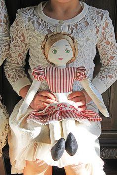 Eliza Bosom Doll in red ticking + cherry apron . Bepoke by Elizabeth Larson