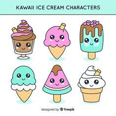 Kawaii Vectors, Photos and PSD files Cute Food Drawings, Mini Drawings, Cute Little Drawings, Cute Cartoon Drawings, Cute Kawaii Drawings, Doodle Drawings, Disney Drawings, Doodles Kawaii, Cute Doodles