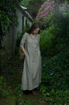 Long Work Dress. Natural Linen