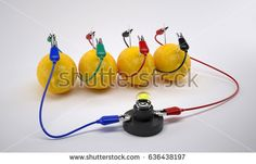 Electricity From Lemon battery on white background. Bio battery. 3D Render.