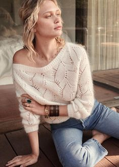 Collection Printemps ALL Maille Bohemian Tops, Knitwear Fashion, Knit Fashion, Fluffy Sweater, Moda Boho, Sweater Weather, Knit Crochet, Autumn Fashion, Knitting
