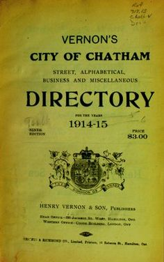 Vernon's city of Chatham street, alphabetical, business, and miscellaneous directory for the years 1914 to 1915