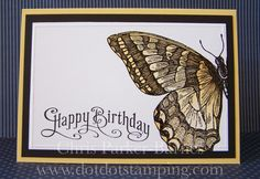I have heat embossed the Swallowtail butterfly using black embossing powder onto… Butterfly Crafts, Big Butterfly, Bee Cards, Beautiful Butterflies, Creative Cards, Homemade Cards, Stampin Up Cards, Cards, Papillons