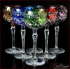 Bohemia Colored Crystal Wine Glasses 21 cm, 220 ml, Jasmine 6 pc New! Colored Wine Glasses, Liquor Glasses, Bohemia Crystal, Bohemia Glass, Crystal Glassware, Crystal Vase, Irises, Crystal Whiskey Glasses, All Things Crystal
