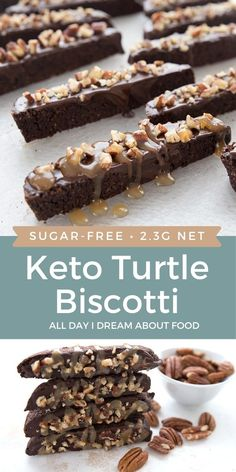 Keto chocolate biscotti dipped in dark chocolate, sprinkled with pecans, and drizzled with sugar-free caramel sauce. An extra special treat! Low Carb Sweets, Low Carb Desserts, Low Carb Recipes, Keto Cookies, Almond Cookies, Sugar Free Desserts, Dessert Recipes, Cookie Recipes, Dinner Recipes