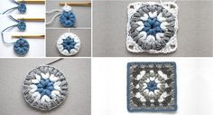 How to Crochet Pretty Slippers – Step By Step - Design Peak Granny Square Bag, Crochet Granny Square Afghan, Crochet Ripple, Crochet Squares, Free Crochet, Crochet Blocks, Square Blanket, Granny Granny, Granny Squares