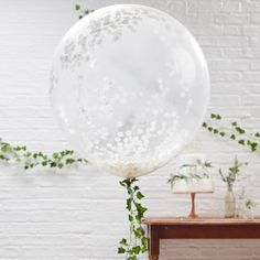 Giant White Confetti Party Balloons - Balloons - Baby Showers - Baby Party