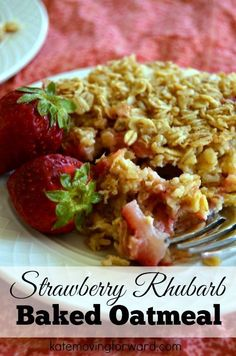 Need a healthy brunch or breakfast idea that is extra special? This baked oatmeal with strawberries and rhubarb is mouthwatering real food, but low in calories and fat.